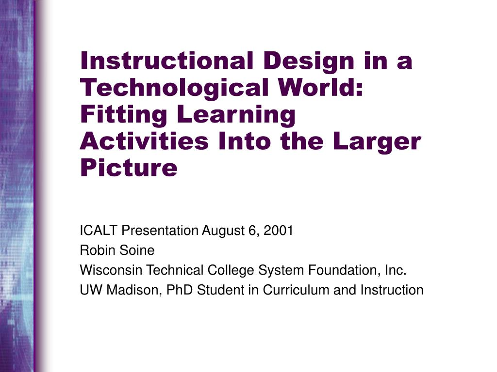 instructional design in a technological world fitting learning activities into the larger picture l.