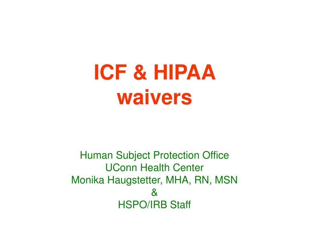 icf hipaa waivers l.