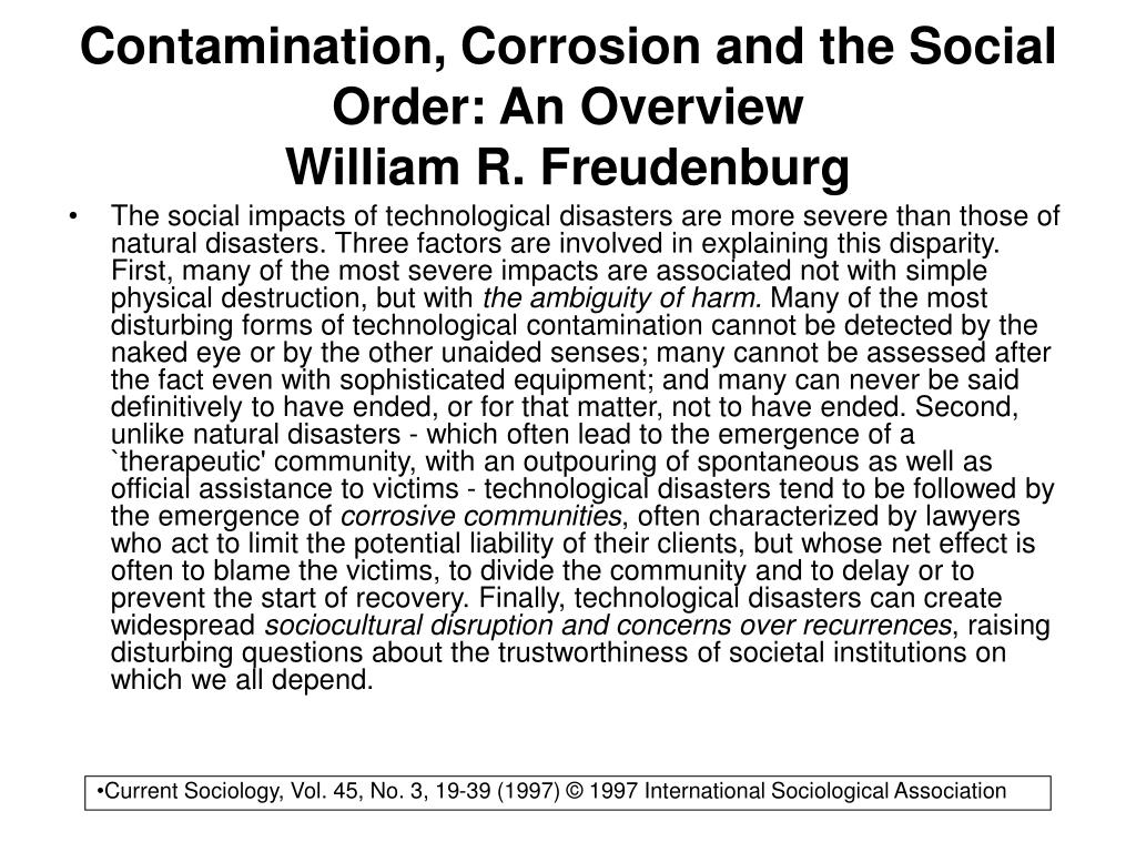 Contamination, Corrosion and the Social Order: An Overview