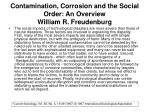 contamination corrosion and the social order an overview william r freudenburg