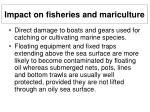 impact on fisheries and mariculture