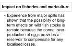 impact on fisheries and mariculture30