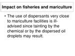 impact on fisheries and mariculture32