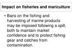impact on fisheries and mariculture34