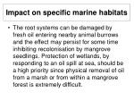 impact on specific marine habitats25