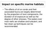 impact on specific marine habitats27