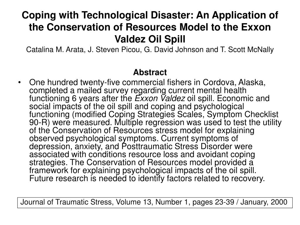 Coping with Technological Disaster: An Application of the Conservation of Resources Model to the Exxon Valdez Oil Spill