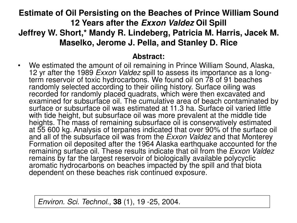 Estimate of Oil Persisting on the Beaches of Prince William Sound 12 Years after the