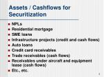 assets cashflows for securitization