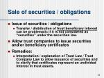 sale of securities obligations