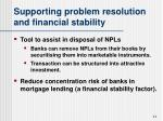 supporting problem resolution and financial stability