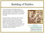 building of pueblos
