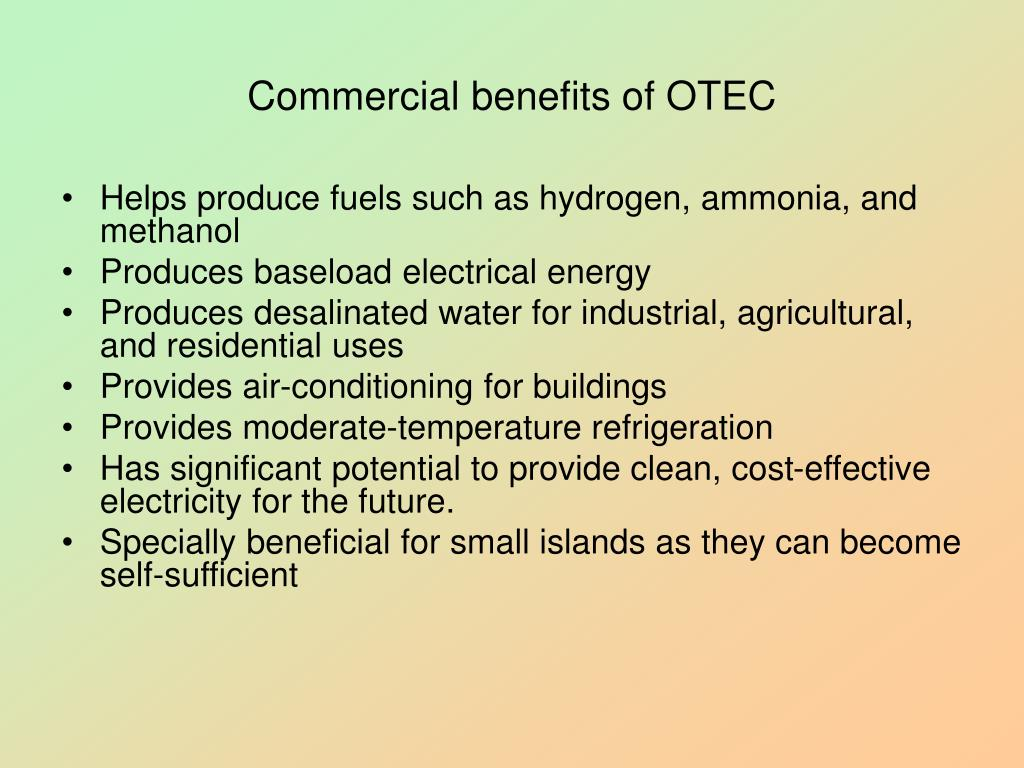Commercial benefits of OTEC