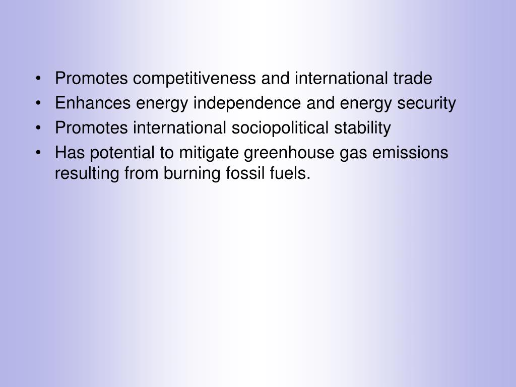 Promotes competitiveness and international trade