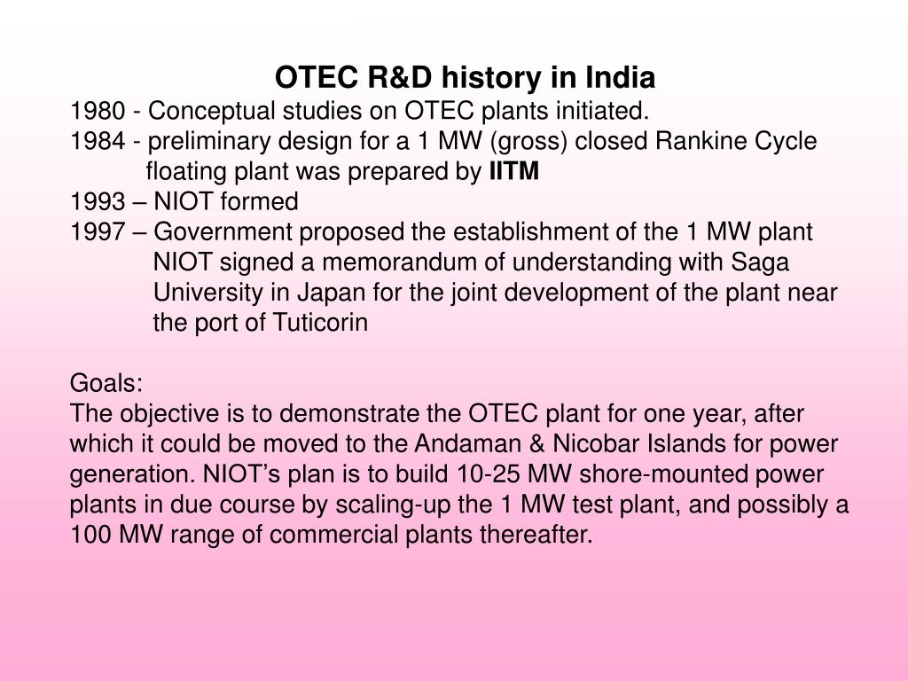 OTEC R&D history in India