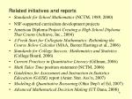related initiatives and reports