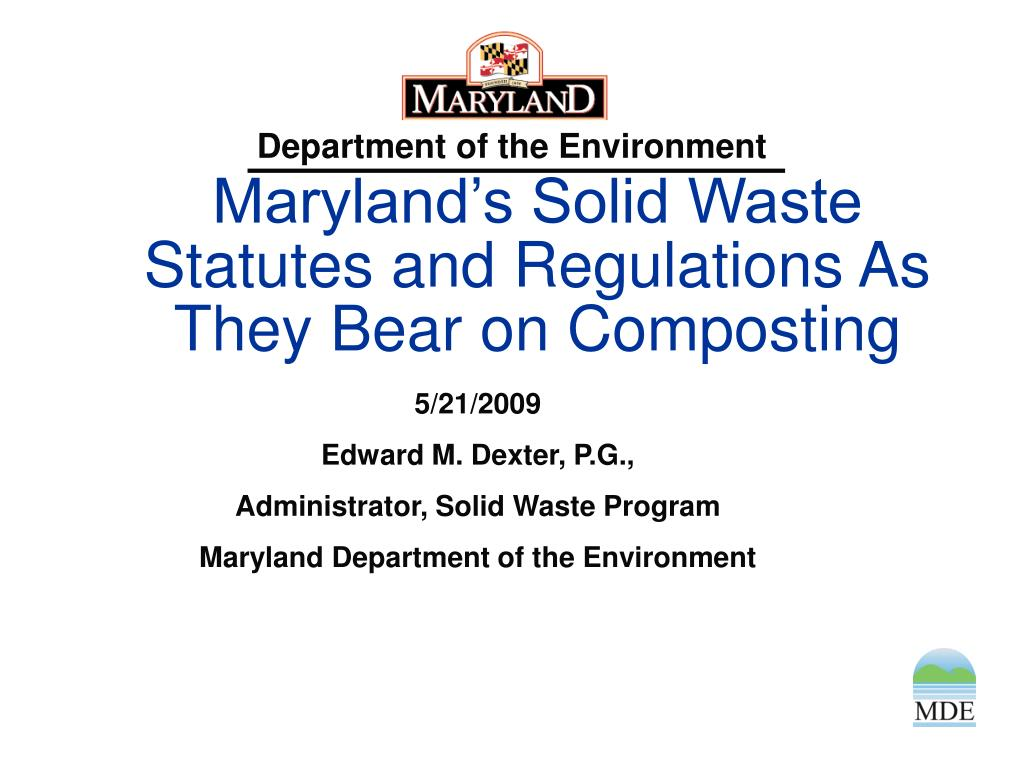 maryland s solid waste statutes and regulations as they bear on composting l.