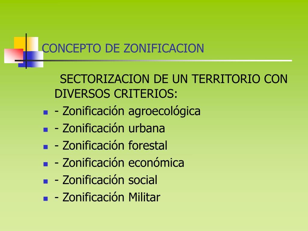CONCEPTO DE ZONIFICACION