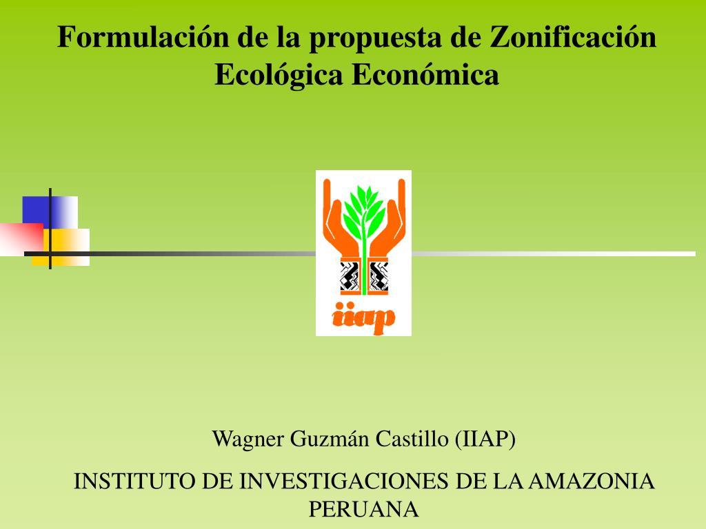 Formulación de la propuesta de Zonificación Ecológica Económica