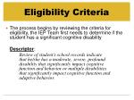 eligibility criteria18