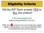 eligibility criteria33
