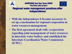 regional water management practices after independence