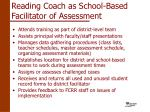 reading coach as school based facilitator of assessment