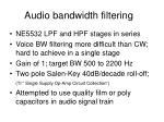 audio bandwidth filtering