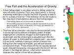 free fall and the acceleration of gravity