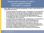american jobs creation act ajca accuracy related penalties notice 2005 12 continued