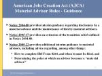 american jobs creation act ajca material advisor rules guidance