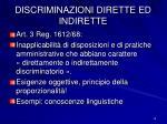 discriminazioni dirette ed indirette