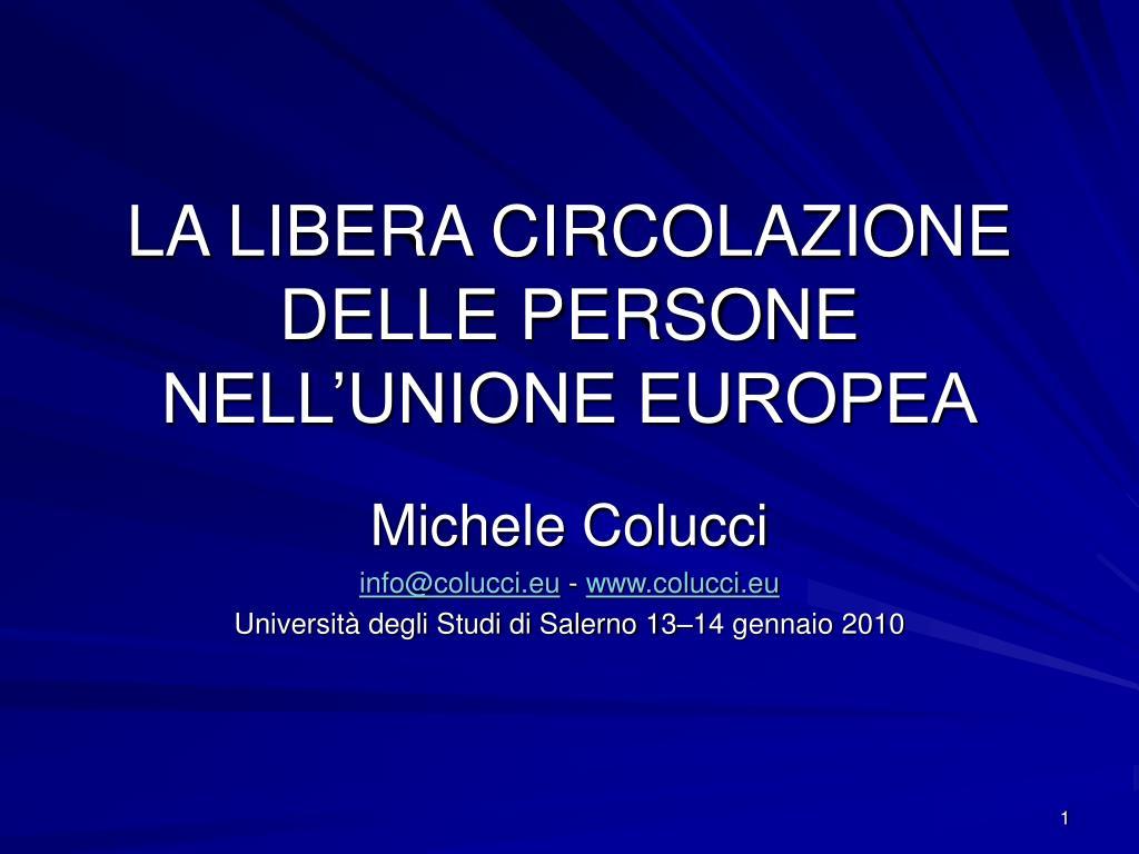 la libera circolazione delle persone nell unione europea l.