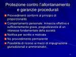 protezione contro l allontanamento e garanzie procedurali