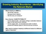 drawing industry boundaries identifying the relevant market