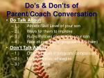 do s don ts of parent coach conversation