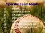 specific team ideals