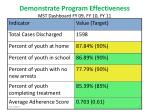 demonstrate program effectiveness mst dashboard fy 09 fy 10 fy 11