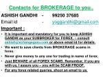 contacts for brokerage to you