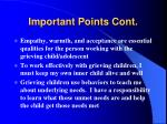 important points cont