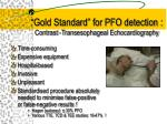 gold standard for pfo detection contrast transesophageal echocardiography