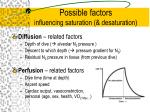 possible factors influencing saturation desaturation