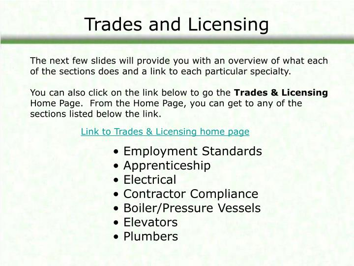 Trades and licensing