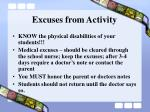 excuses from activity