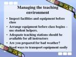 managing the teaching environment