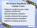 pe student handbook may contain cont