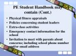 pe student handbook may contain cont8