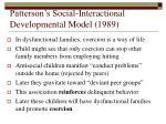 patterson s social interactional developmental model 198923