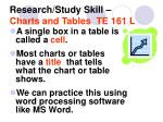 research study skill charts and tables te 161 l18