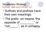 vocabulary strategy suffixes able and prefixes un